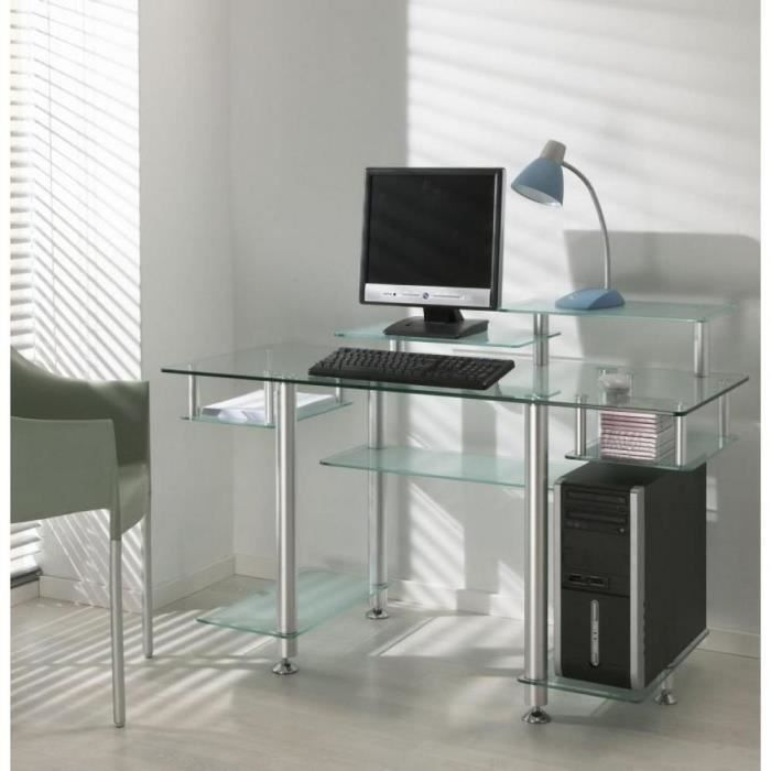 bureau design en verre transparent desk xl achat vente. Black Bedroom Furniture Sets. Home Design Ideas
