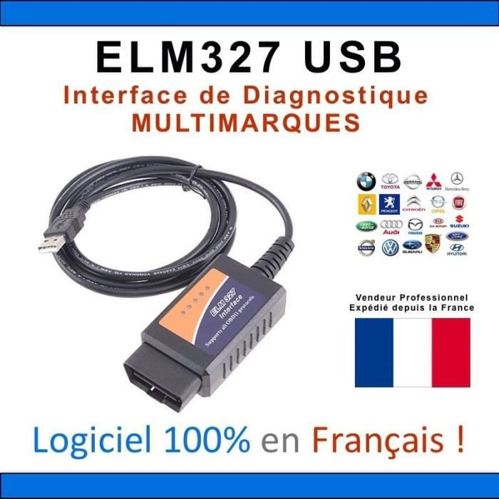 c ble interface elm 327 usb diagnostique auto logiciel en francais achat vente outil. Black Bedroom Furniture Sets. Home Design Ideas