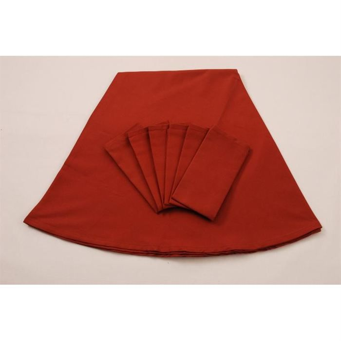 Ensemble lot nappe 6 serviettes couleur rouille achat - Ensemble nappe et serviette de table ...