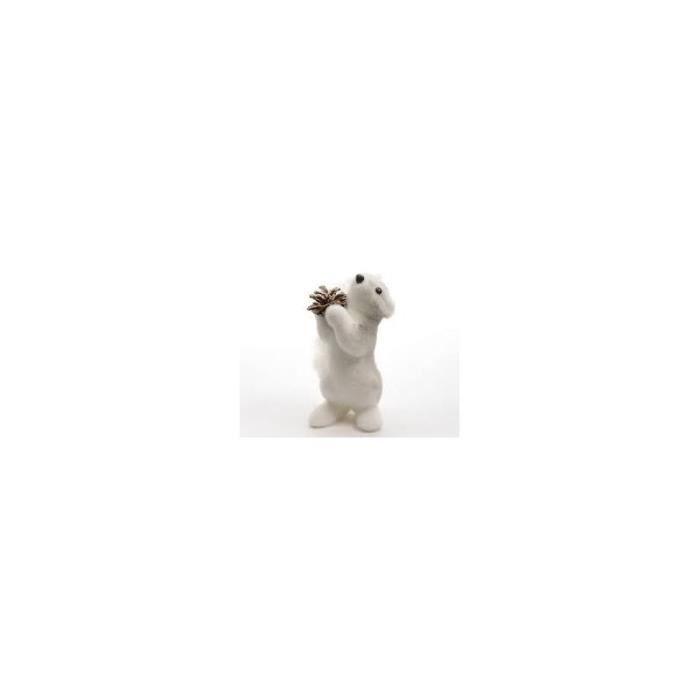 OBJET DÉCORATIF Ecureuil en Mousse avec une Pomme de Pin