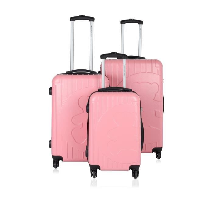 lot de 3 valises lulu castagnette rose achat vente set. Black Bedroom Furniture Sets. Home Design Ideas