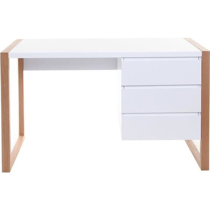 miliboo bureau design 3 tiroirs blanc mat a achat vente bureau miliboo bureau design 3. Black Bedroom Furniture Sets. Home Design Ideas