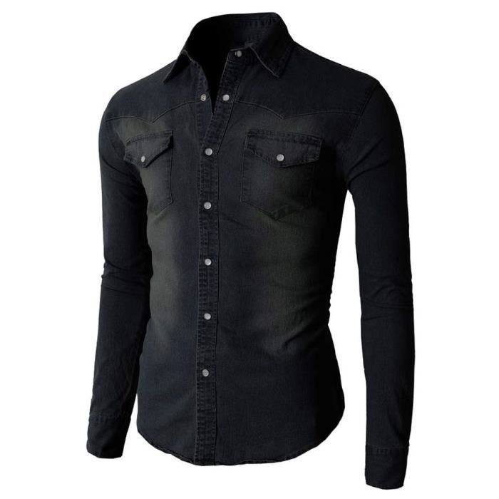 chemise jeans homme slim fit marque manche longue chemises. Black Bedroom Furniture Sets. Home Design Ideas