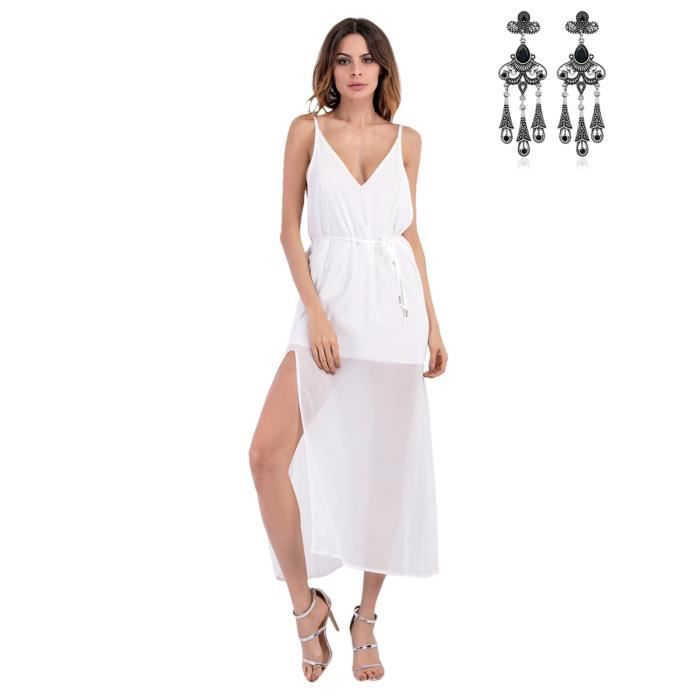 Femmes t robe plage soiree cocktail longue maxi robe for Maxi robe de plage mariage