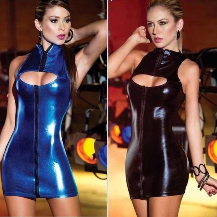 Femmes PU Cuir Moulante Creux Mini Robe Wet Look Party Night Club Dresses
