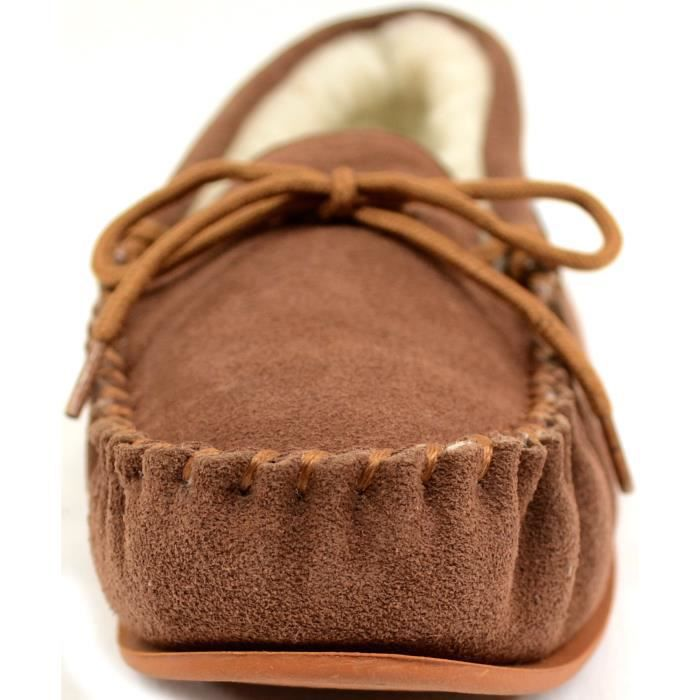 Suede Sheepskin Moccasin Slippers With Rubber Sole SWDPH Taille-40 1-2 kATBdrgq