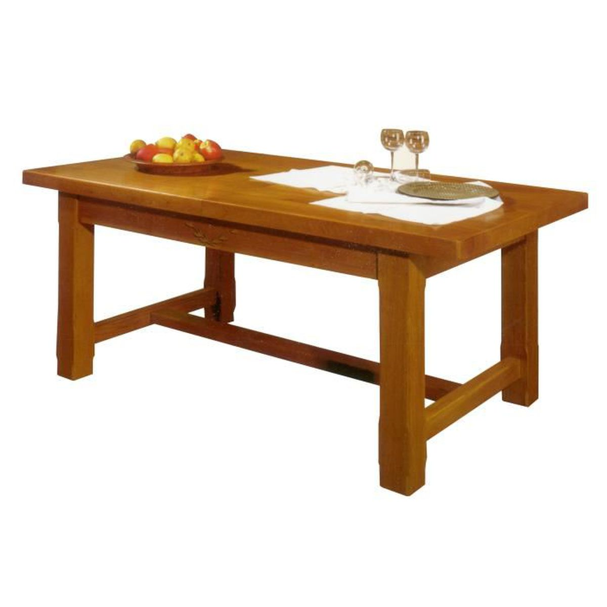 Table de ferme avec 2 allonges en ch ne massif orge for Table a manger avec allonges