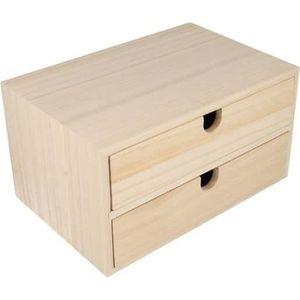 Support à décorer Bloc en bois 2 tiroirs 24x16x13,3cm - Artémio Marr