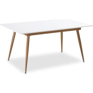 TABLE À MANGER SEULE Table style scandinave extensible Betty Blanc - 6