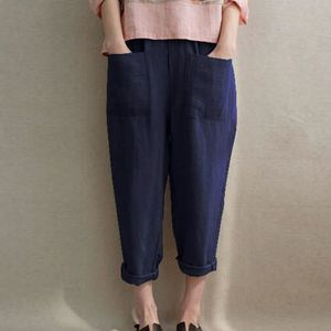 PANTALON huaido Femmes Ladies Pocket Lin coton Casual et lo