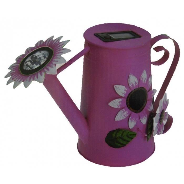 Balise solaire - Arrosoir Rose - Jardin 31,5 cm