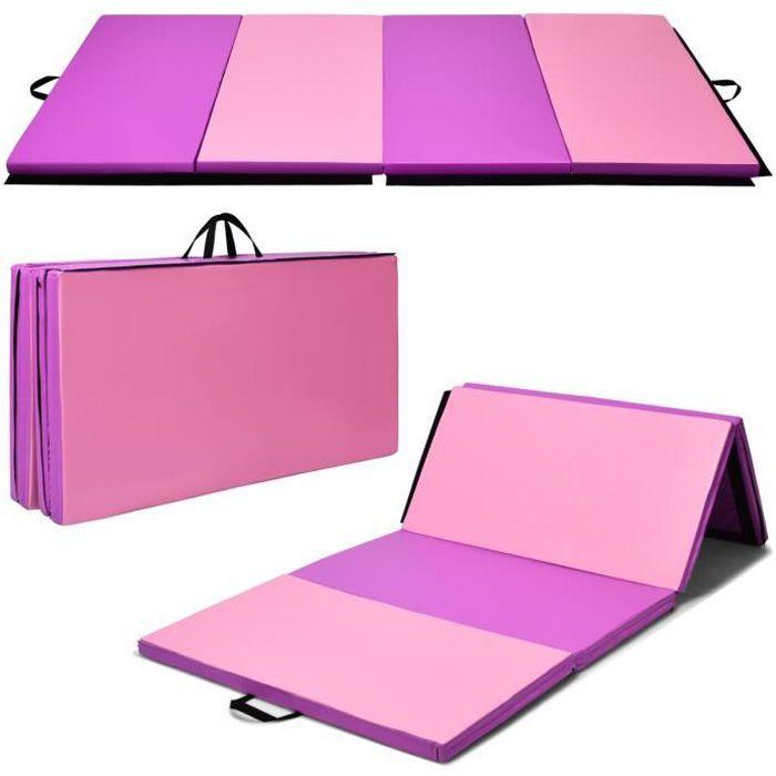 COSTWAY Tapis de Gymnastique Pliable 240x120x5CM Tapis de Yoga Portable avec 2 Poignées de Transport et Velcro Rose+Violet