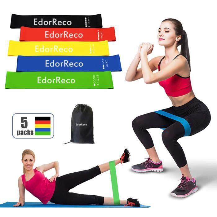 EdorReco 5 Pièces Bandes de Fitness élastique pour Yoga Musculation Sport - avec Sac de Rangement