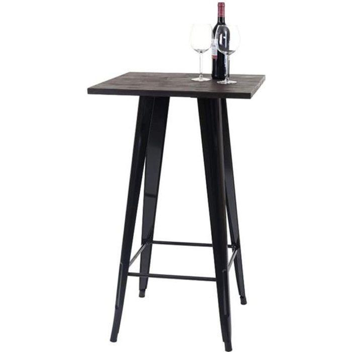 YIS Table Haute de Bar - Carré 60cm - Table de bistrot pour Cuisine ou Exterieur Jardin terrasse Balcon - Hauteur: 92 cm noir/marron