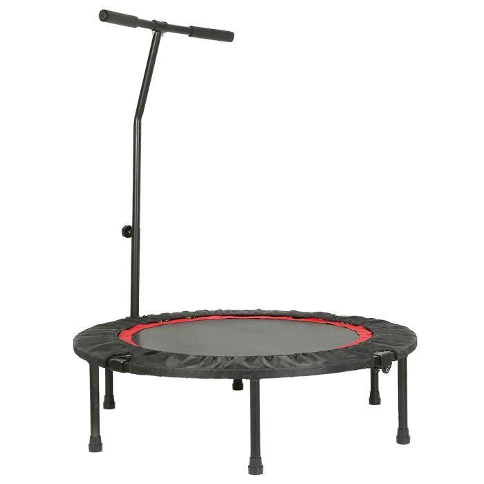 WISS Trampoline de Fitness/Gymnastique avec la poignée Haute Performance Ø 100 cm élastiques Bungee Noir