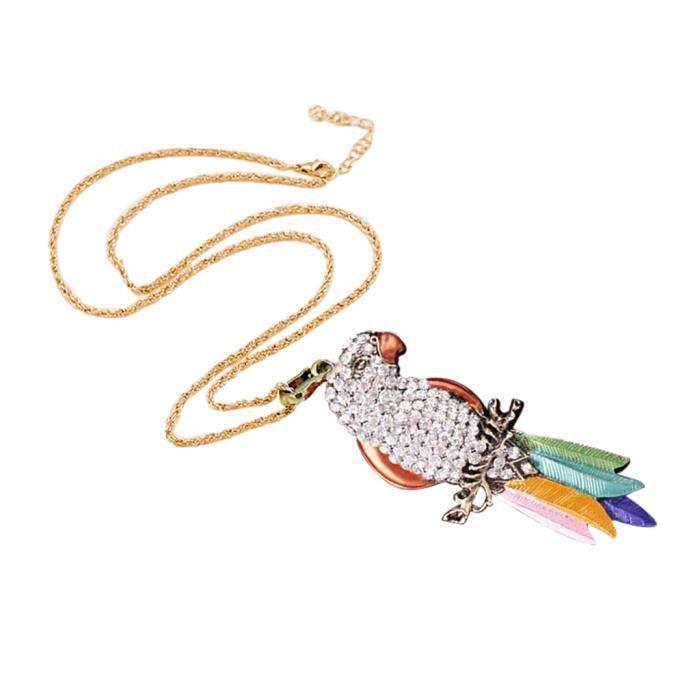 Collier cadeau de Noël Chaîne de chandail de collier avec pendentif cristal animal coloré ZHU90601003WH_Ansan