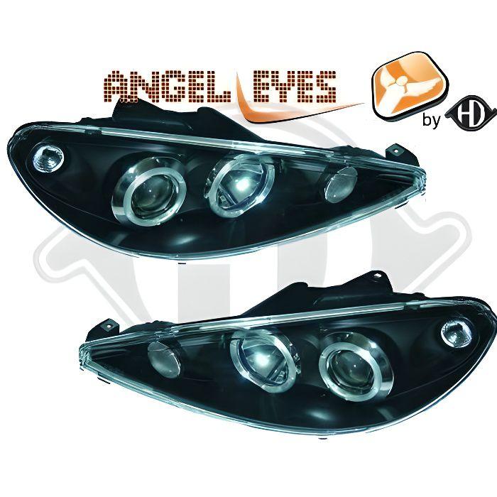 4225680 , Paire de Feux Phares Angel Eyes noir pour PEUGEOT 206 - 206 CC (montage H4) de 1998 a 2008