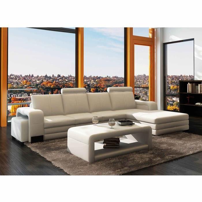 Canapé d'angle méridienne blanc design en cuir HAVANE