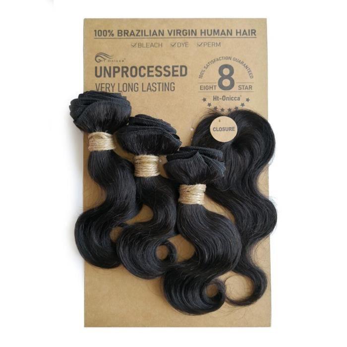 Mèches brésiliennes naturelles crépues et bouclées, Extensions de cheveux humains, Deep Wave, Body Wave, avec Closure, [5041450]