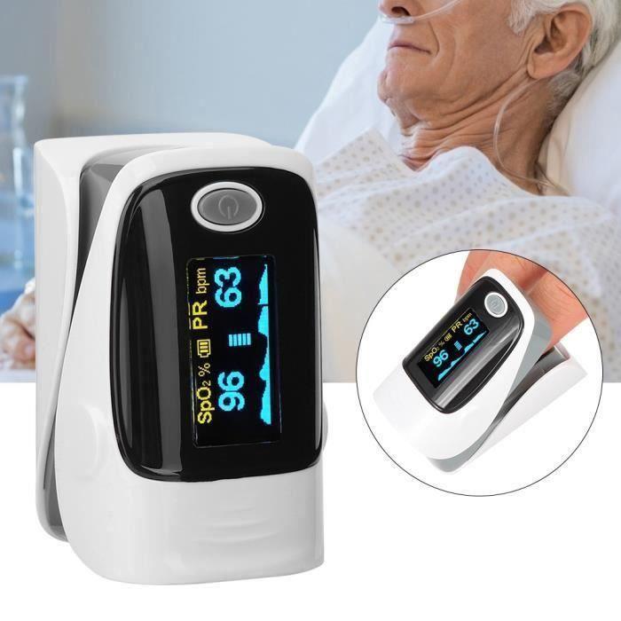 Moniteur de fréquence cardiaque et tensiomètre à pince pour doigt mesure SPO2 (Gris)