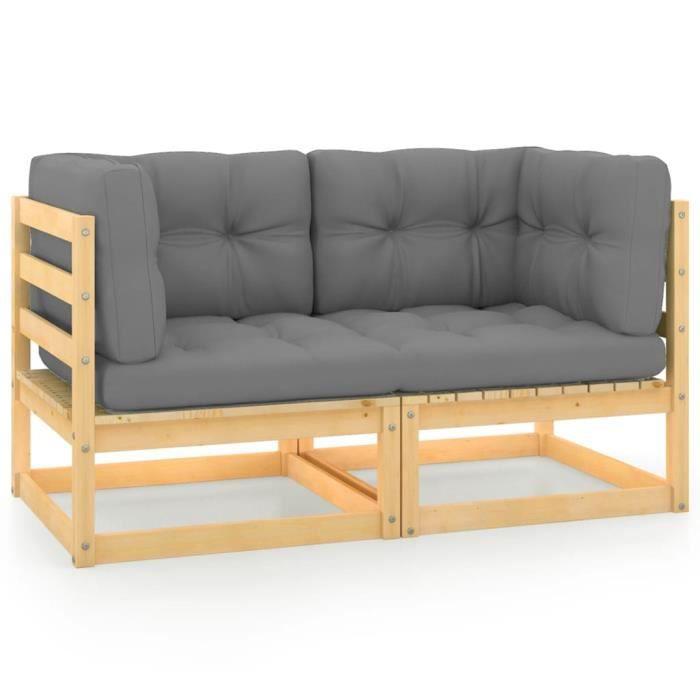 2642Neuve- Canapé de jardin 2 places,Salon Bas de Jardin,Canapé de Patio Terrasse avec coussins Bois de pin solide