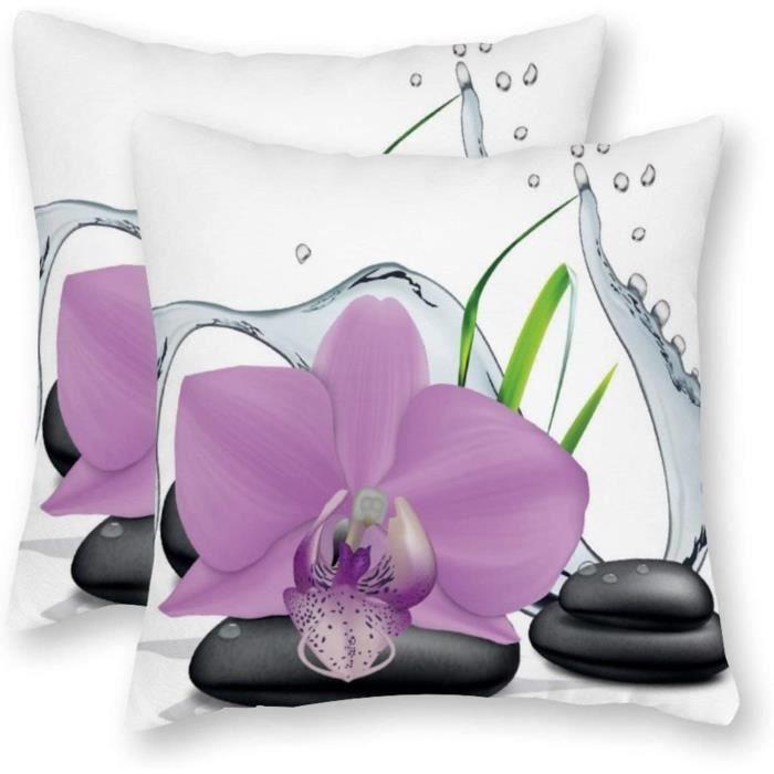 COUSSIN happygoluck1y Lot de 2 housses de coussin en toile avec motif orchideacutee et pierre zen 18 x 18 x 45 cm x 45 cm792