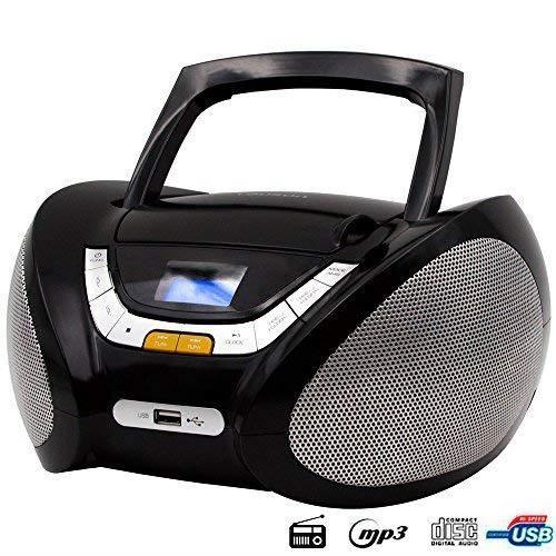 Lauson CP445 Lecteur CD Boombox Radio Portable avec USB, Lecteur MP3 pour Enfant. Prise Casque, Aux-in, Écran LCD (Noir)