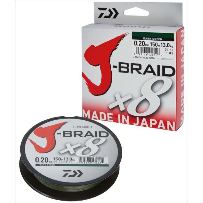 Fil de pêche tresse - Daiwa J-Braid 8 Braid 0.16mm, 9,0kg-20,0lbs, 150m vert foncé