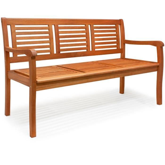Banc de jardin 3 places en bois d'eucalyptus pré-huilé Certifié FSC® pour balcon terrasse patio