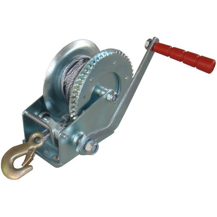 Treuil à câble d'acier d'une capacité max de traction de 1200 daN, câble de Ø: 4,8mm, longueur: 10m