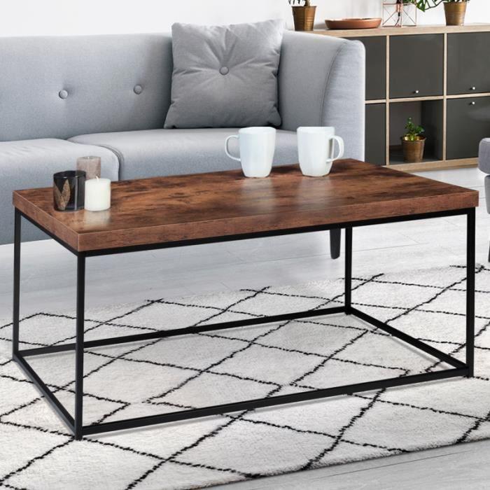 IDMARKET Table basse DAYTON plateau épais effet vieilli design industriel