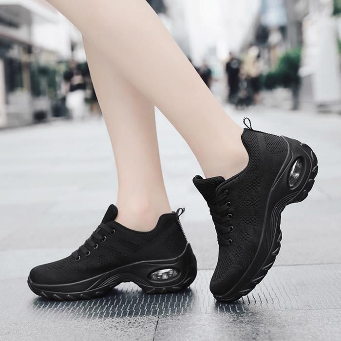 Chaussures de baskets basses respirantes en maille pour femmes, chaussures de course légères antidérapantes Noir