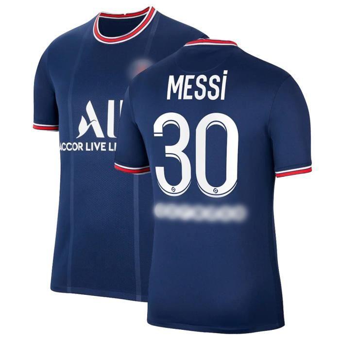 Maillot de Football Bleu T-Shirt de L'équipe de Paris-Messi Maillot de Formation 30 Tissu Respirant pour Adulte Domicile