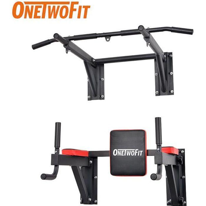 OneTwoFit Set Barre de Traction à Montage Mural Tour de Puissance Entraînement Musculation Équipement de Fitness OT076