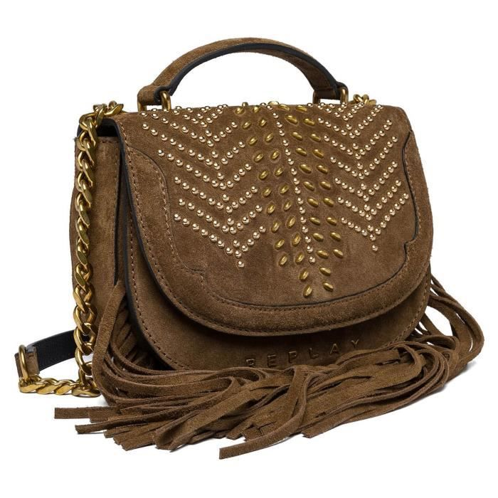 REPLAY Natural Suede Crossover Bag bandoulière en Natural Suede Crossover Bag Old Brown [82859]