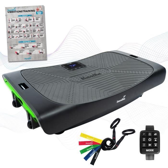 Skandika Vibration Plate V3000 - Plateforme vibrante incurvée - Smart LED - Haut-Parleur Bluetooth - 4D - 3 Moteurs - Sangles