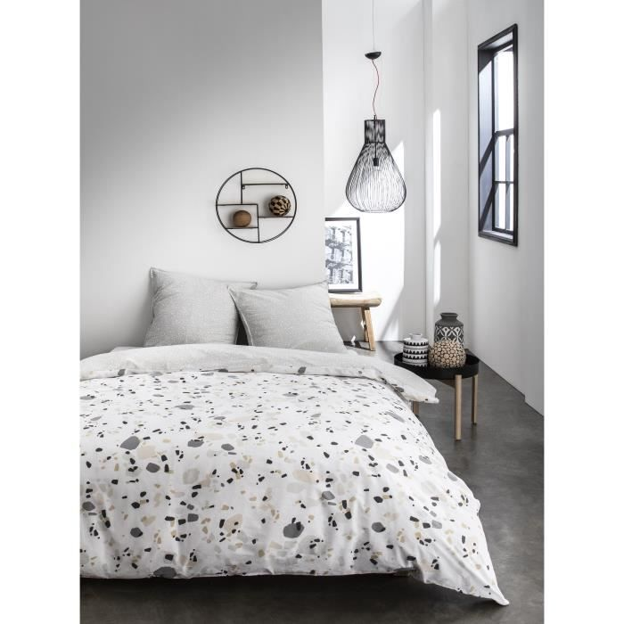 TODAY Parure de couette Sunshine #2.23 - 100% Coton - 220 x 240 cm - Blanc et gris