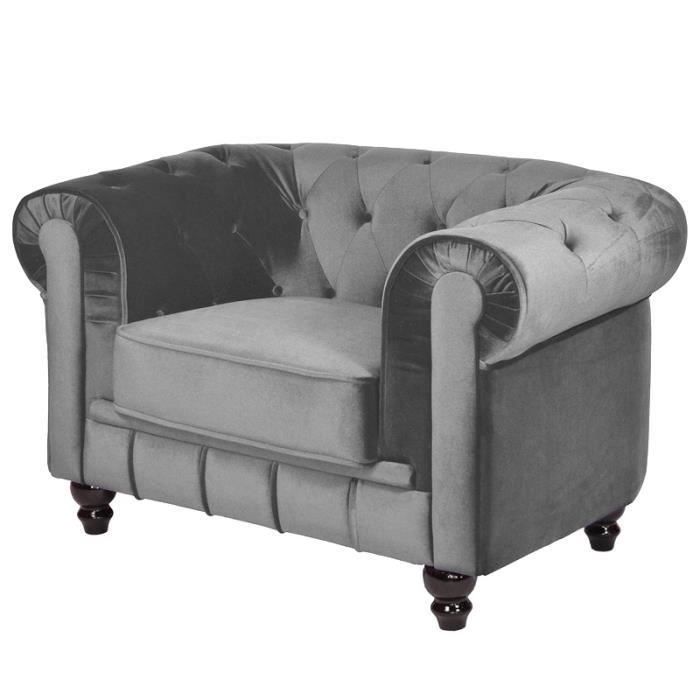 chesterfield fauteuil gris en tissu velours achat. Black Bedroom Furniture Sets. Home Design Ideas