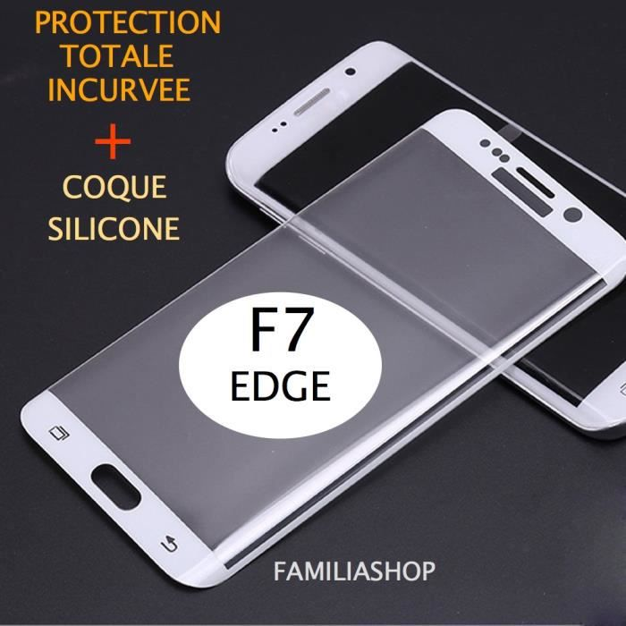 film protection blanc samsung galaxy s7 edge 3d bord incurv int gral total coque silicone. Black Bedroom Furniture Sets. Home Design Ideas