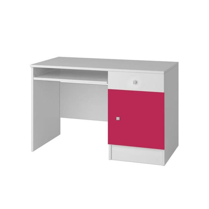 bureau blanc et rose miko 110 cm achat vente bureau bureau blanc et rose miko 1 soldes. Black Bedroom Furniture Sets. Home Design Ideas