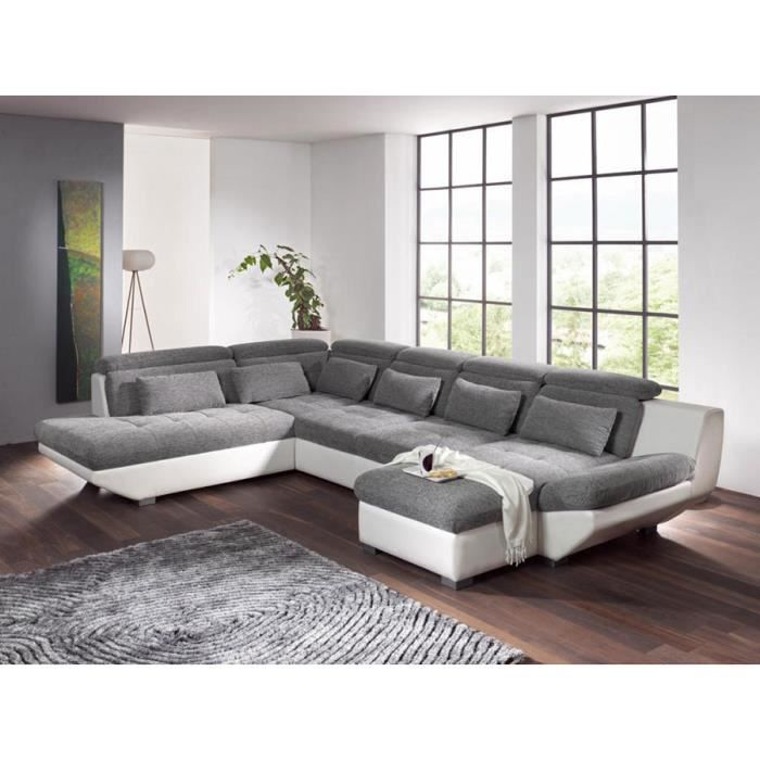 canap d 39 angle gris blanc tissu et pu jordan angle gauche achat vente canap sofa divan. Black Bedroom Furniture Sets. Home Design Ideas