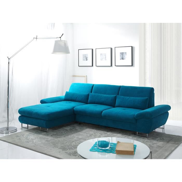 canap d 39 angle convertible bleu azur avec coffre yoshi a gauche achat vente canap sofa. Black Bedroom Furniture Sets. Home Design Ideas
