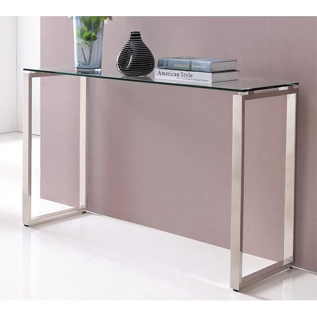 console design verre chrome 120x40 cm achat vente console console design verre chrome. Black Bedroom Furniture Sets. Home Design Ideas