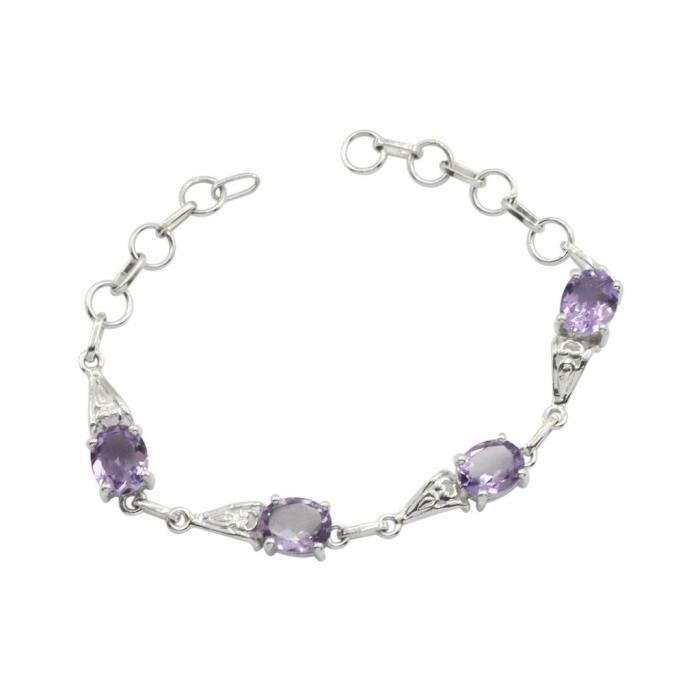bracelet argent amethyste femme