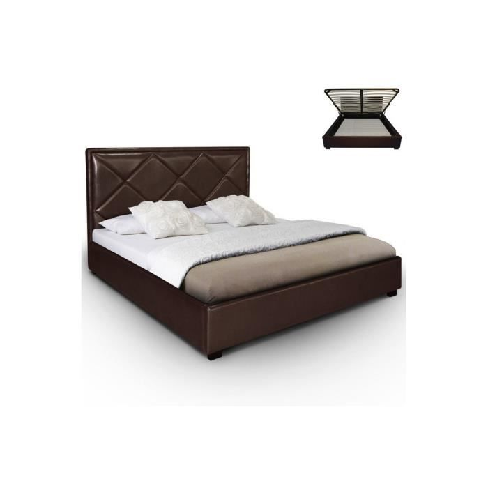 lit coffre 160x200 sommier cuir pu marron elise achat. Black Bedroom Furniture Sets. Home Design Ideas