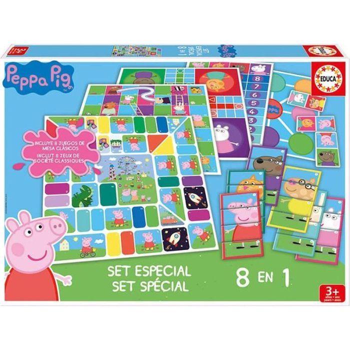JEU SOCIÉTÉ - PLATEAU PEPPA PIG 8 jeux en 1