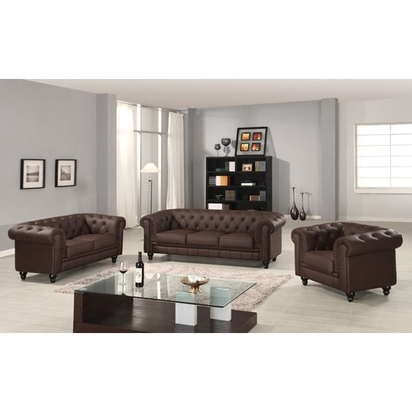 canape chesterfield marron capitonne 3 2 1 places achat vente ensemble canapes cdiscount. Black Bedroom Furniture Sets. Home Design Ideas