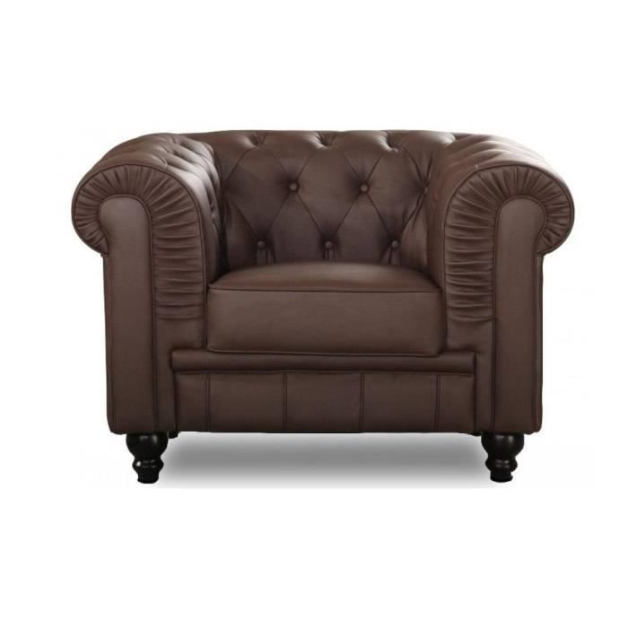 Fauteuil chesterfield royal marron capitonn achat - Fauteuil cabriolet chesterfield ...