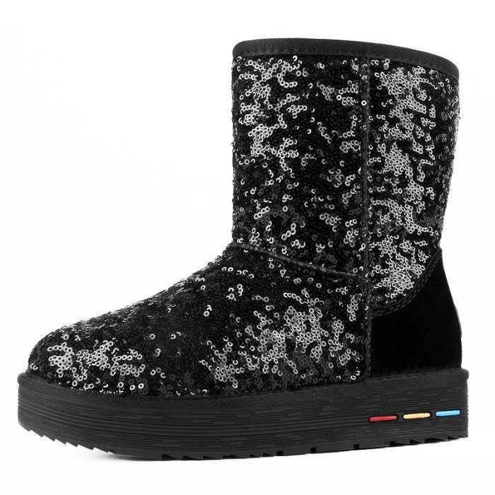 avec Chaussures femme Grande Taille Nouveauté antidérapage d'hiver neige talons 35 chaud bottine 40 plats de Paillette Noir Bottes 7yf6gYb