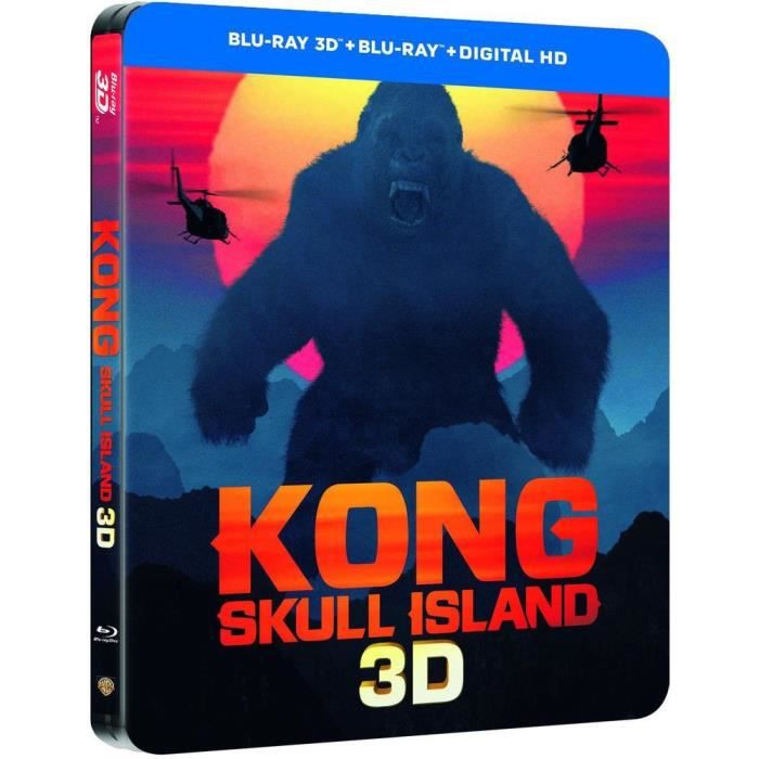 BLU-RAY FILM kong skull island steelbook 3d et 2d + copie digit